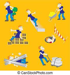 perigos, construção, acidente, trabalhador
