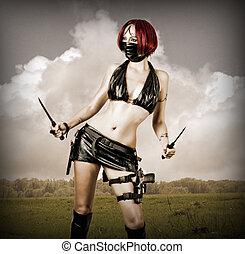 perigosa, excitado, mulher, máscara, pretas