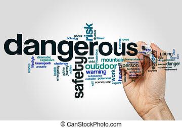 perigosa, palavra, nuvem