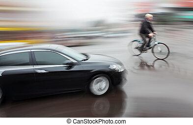 perigosa, tráfego cidade, situação