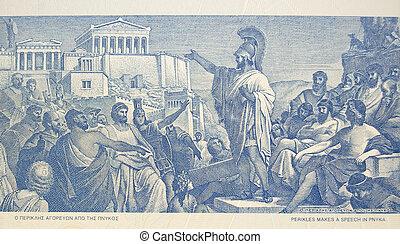 perikles, maakt, toespraak, om te, menigte