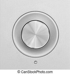 perilla, aluminio, botón, o, volumen, plata