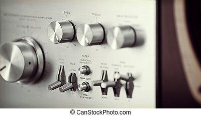 perilla, estéreo, vendimia, amplificador, volumen, frente,...
