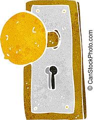 perilla, viejo, puerta, caricatura