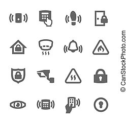 Perimeter security icons - Simple set of perimeter security ...