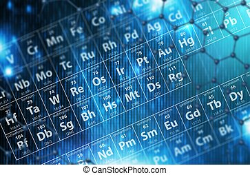 Periodic Table Blue Background 3D Render Illustration....