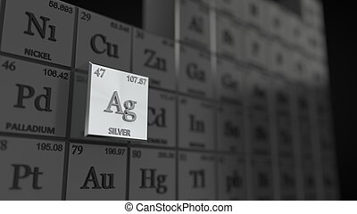 periodic table concept with cubes. silver element selected. 3d illustration
