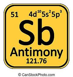 Periodic table element antimony icon.