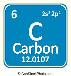 Periodic table element carbon icon.