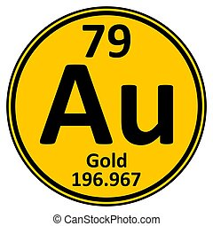 Periodic table element gold icon.