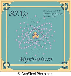 Periodic table element. Neptunium colorful icon. Vector.