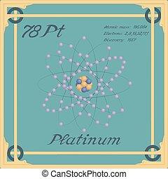 Periodic table element. Platinum colorful icon. Vector.