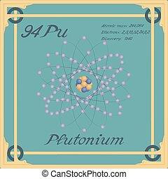 Periodic table element. Plutonium colorful icon. Vector.