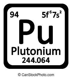 Periodic table element plutonium icon on white background. Vector illustration.