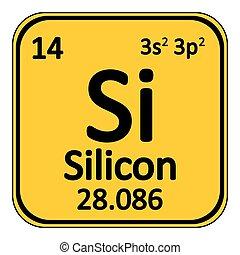 Periodic table element silicon icon.