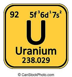 Periodic table element uranium icon. - Periodic table...