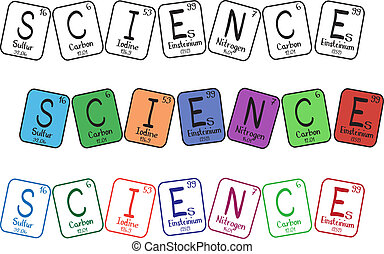 Periodic table elements - science buttons - three colored types