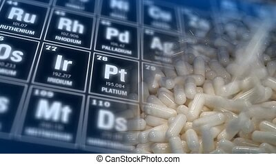 Periodic table of elements and tablet production concept -...