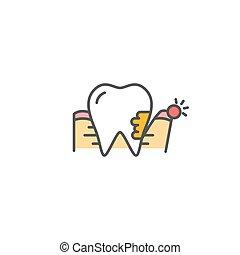 periodontitis, vecteur, icône