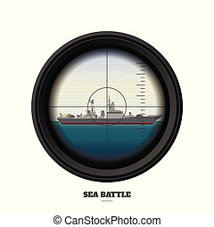 Periscope of submarine. Military weapon view. Sea battle....