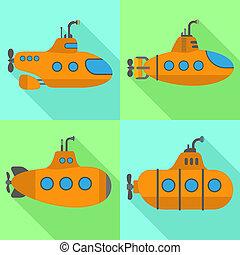 Periscope submarine icons set, flat style