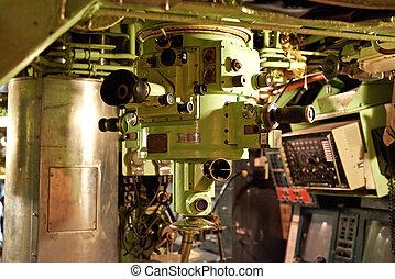 periszkóp, belső, egy, tengeralattjáró
