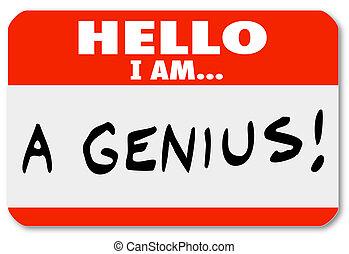 perito, brilhante, nametag, gênio, pensador, olá