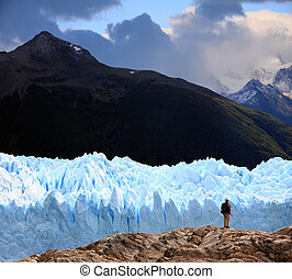 Perito Moreno Glacier, Argentina - A man looking at Perito ...