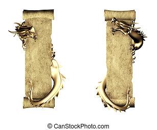 perkament, oud, boekrol, draak