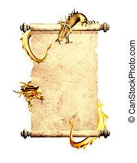 perkament, oud, boekrol, draken