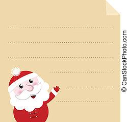 perkament, papier, karakter, oud, -, kerstman, brief
