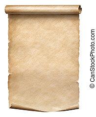 perkament, witte , oud, vrijstaand, boekrol