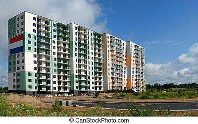 perkunkiemis, résidentiel, bloc, -, nouveau, vue, de, vilnius