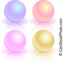 A set of pearls of different colors.