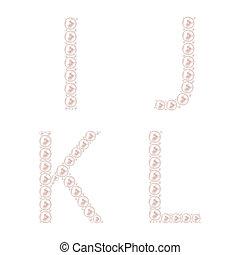 perla, abeceda, vektor, ilustrace