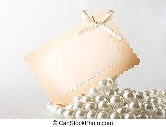 perla, con, tarjeta, aislado, blanco
