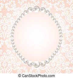 perla, cornice, su, laccio, fondo