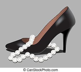 perla, cuentas, zapato