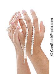 perla, donna, mani