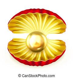 perla, oro, vector