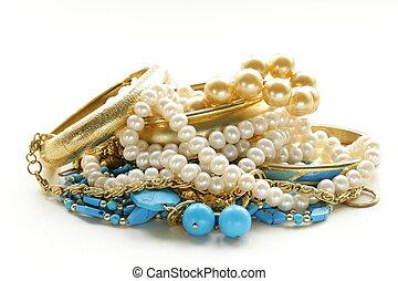 perla, turchese, gioielleria, oro