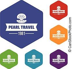 perla, viaje, vector, hexahedron, iconos