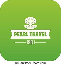 perla, viaje, vector, verde, icono