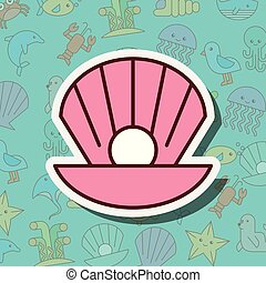 perla, vida, almeja, caricatura, mar