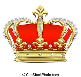 perlas, blanco, corona