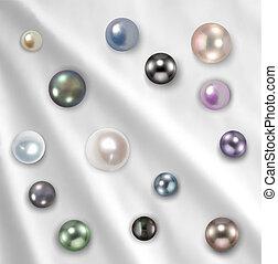 perlas, collar, encima, blanco, silk., vector