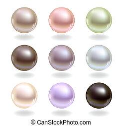 perlas, de, diferente, colores