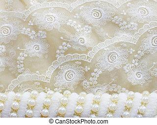 perlas, encaje, plano de fondo, vendimia