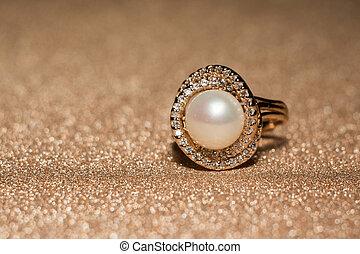 perle, anneau blanc, or, rose
