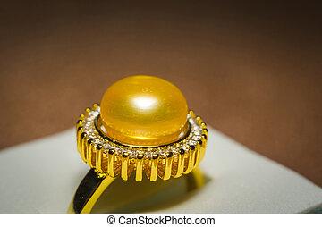 perle, anneau, jaune, or